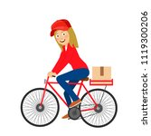 delivery service young girl...   Shutterstock .eps vector #1119300206