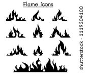 fire   flames icon set  | Shutterstock .eps vector #1119304100
