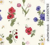 seamless pattern with flowers.... | Shutterstock .eps vector #1119305783
