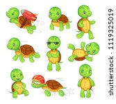 turtle child. running fast... | Shutterstock .eps vector #1119325019