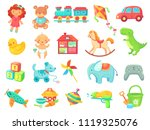 funny plush teddy bear  girl... | Shutterstock .eps vector #1119325076