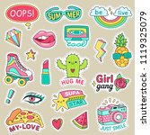 fun fashion teenage stickers.... | Shutterstock .eps vector #1119325079