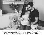 image of husband holding belly...   Shutterstock . vector #1119327020