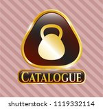 golden badge with kettlebell... | Shutterstock .eps vector #1119332114