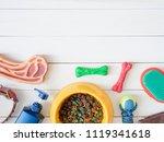 top view of pet care concept...   Shutterstock . vector #1119341618