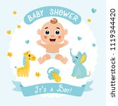 it's a boy  baby shower card.... | Shutterstock .eps vector #1119344420