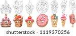 cartoon sweet dessert food... | Shutterstock .eps vector #1119370256