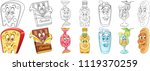 cartoon snack collection. food... | Shutterstock .eps vector #1119370259