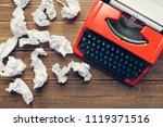 top view of vintage red... | Shutterstock . vector #1119371516