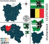 vector map of east flanders... | Shutterstock .eps vector #1119374033