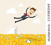 happy businessman jumping into... | Shutterstock .eps vector #1119382049