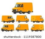 yellow van set. truck for... | Shutterstock .eps vector #1119387800