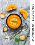 cream of pumpkin soup served... | Shutterstock . vector #1119387893