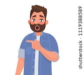surprised man points to... | Shutterstock .eps vector #1119388589