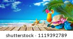 straw hat with sunglasses and... | Shutterstock . vector #1119392789