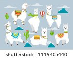 vector set illustration of cute ... | Shutterstock .eps vector #1119405440