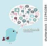 bird is singing social media | Shutterstock .eps vector #111941084