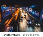 blurred of car on the road at... | Shutterstock . vector #1119411248