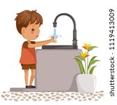 boy washing hands. side view of ... | Shutterstock .eps vector #1119413009