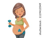 pregnant woman exercising with... | Shutterstock .eps vector #1119413549