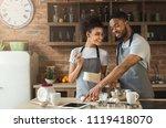 happy african american couple... | Shutterstock . vector #1119418070