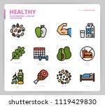 healthy icon set | Shutterstock .eps vector #1119429830
