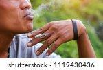 asian man smoker smoking...   Shutterstock . vector #1119430436