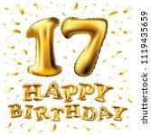 raster copy golden number 17... | Shutterstock . vector #1119435659