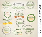 retro styled organic food ... | Shutterstock .eps vector #111945188