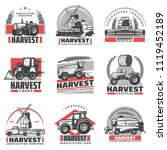 Vintage Harvesting Emblems Set...