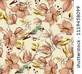 pink flowers and birds pattern  | Shutterstock .eps vector #1119458099