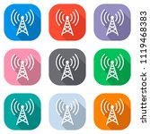 radio tower icon. linear style. ... | Shutterstock .eps vector #1119468383