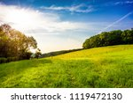 landscape with green meadows at ... | Shutterstock . vector #1119472130