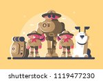 group of scouts with rucksack... | Shutterstock .eps vector #1119477230