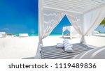 tranquil beach scene. exotic... | Shutterstock . vector #1119489836