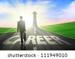 Businessman walking on a great career path - stock photo