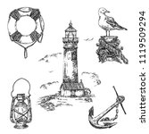 vintage nautical set. lifebuoy  ... | Shutterstock .eps vector #1119509294