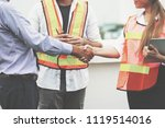 engineer or architect handshake ... | Shutterstock . vector #1119514016