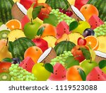 fruity ripe juicy background. a ... | Shutterstock .eps vector #1119523088