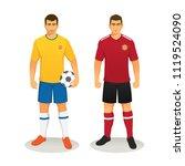 football soccer players in... | Shutterstock .eps vector #1119524090