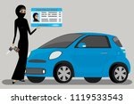 arabic woman with driving... | Shutterstock .eps vector #1119533543