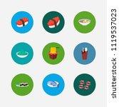 nutrition icons set. tako maki...