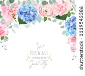blue and pink hydrangea  rose ... | Shutterstock .eps vector #1119543386