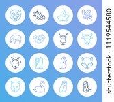 animal icon set and snake with... | Shutterstock . vector #1119544580