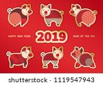 pig is a symbol of the 2019... | Shutterstock .eps vector #1119547943