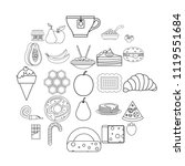 delicious icons set. outline... | Shutterstock .eps vector #1119551684
