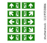 emergency exit signs set. man...   Shutterstock .eps vector #1119553886