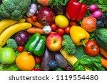 assortment of fresh harvested... | Shutterstock . vector #1119554480