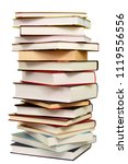 high stack of books isolated on ... | Shutterstock . vector #1119556556