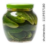 fermented cucumbers in a glass... | Shutterstock . vector #1119557180